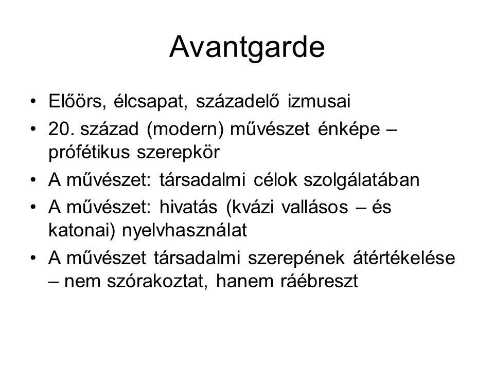 Avantgarde Előörs, élcsapat, századelő izmusai 20.