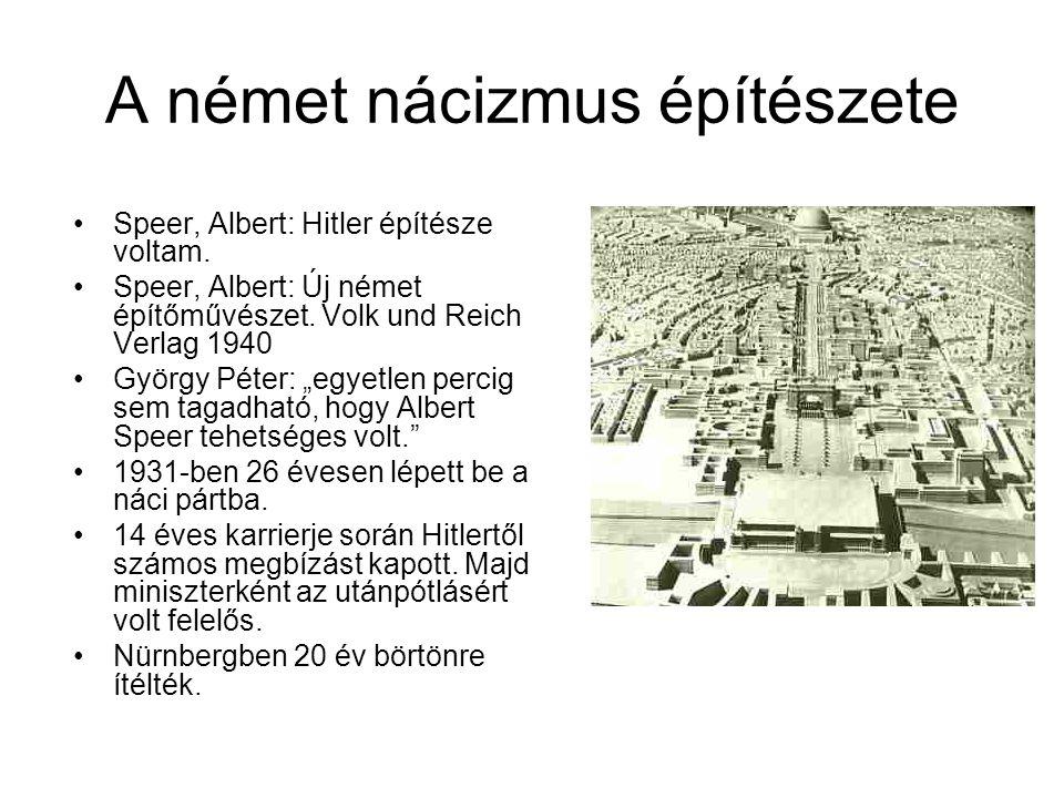 A német nácizmus építészete Speer, Albert: Hitler építésze voltam.