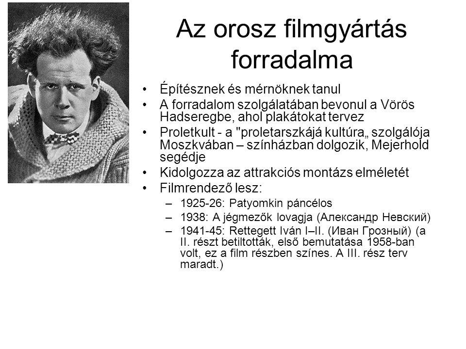 """Az orosz filmgyártás forradalma Építésznek és mérnöknek tanul A forradalom szolgálatában bevonul a Vörös Hadseregbe, ahol plakátokat tervez Proletkult - a proletarszkájá kultúra"""" szolgálója Moszkvában – színházban dolgozik, Mejerhold segédje Kidolgozza az attrakciós montázs elméletét Filmrendező lesz: –1925-26: Patyomkin páncélos –1938: A jégmezők lovagja (Александр Невский) –1941-45: Rettegett Iván I–II."""
