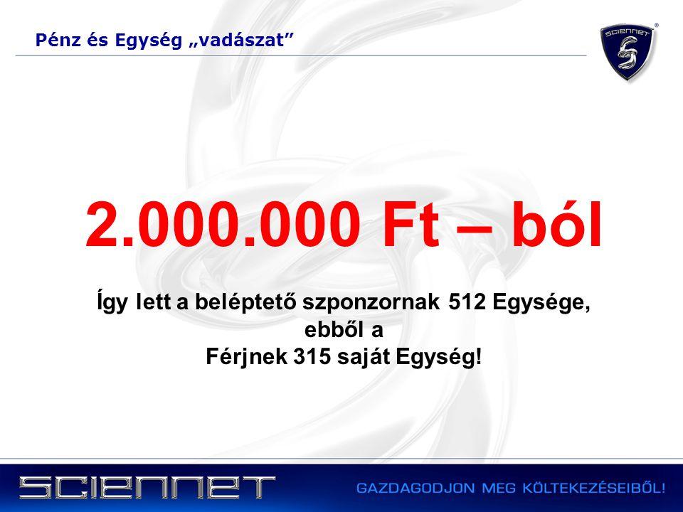 """Pénz és Egység """"vadászat 2.000.000 Ft – ból Így lett a beléptető szponzornak 512 Egysége, ebből a Férjnek 315 saját Egység!"""
