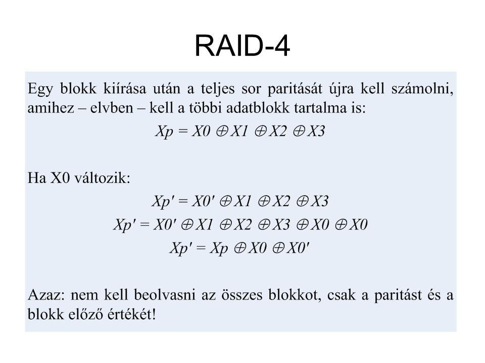 RAID-4 Tárolás módja –Nagyméretű csíkok, egy blokk egyetlen diszken tárolódik. –Blokk szintű paritás képzés XOR művelettel történik, a megoldás dediká