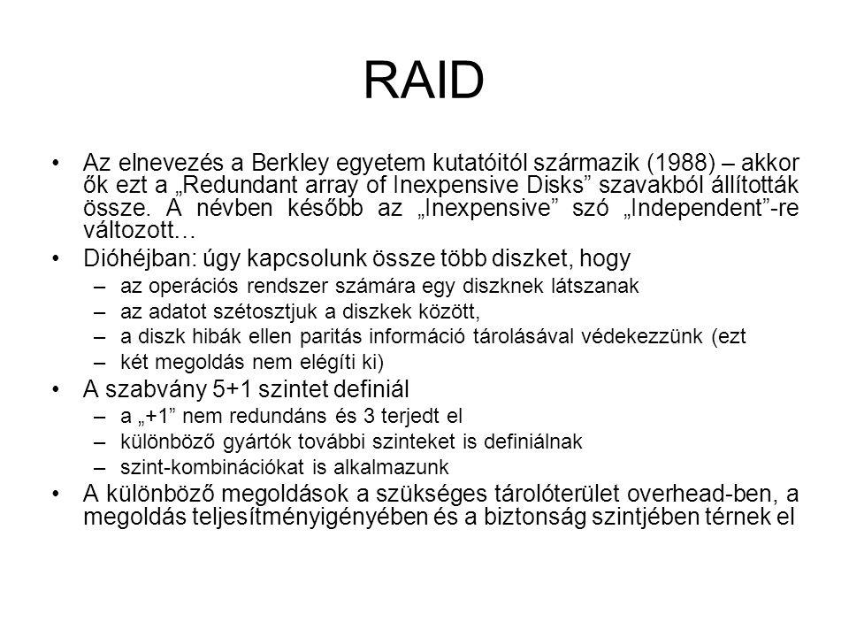 """RAID Az elnevezés a Berkley egyetem kutatóitól származik (1988) – akkor ők ezt a """"Redundant array of Inexpensive Disks"""" szavakból állították össze. A"""