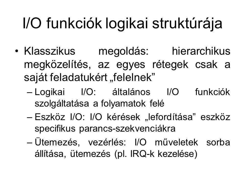 """I/O funkciók logikai struktúrája Klasszikus megoldás: hierarchikus megközelítés, az egyes rétegek csak a saját feladatukért """"felelnek –Logikai I/O: általános I/O funkciók szolgáltatása a folyamatok felé –Eszköz I/O: I/O kérések """"lefordítása eszköz specifikus parancs-szekvenciákra –Ütemezés, vezérlés: I/O műveletek sorba állítása, ütemezés (pl."""