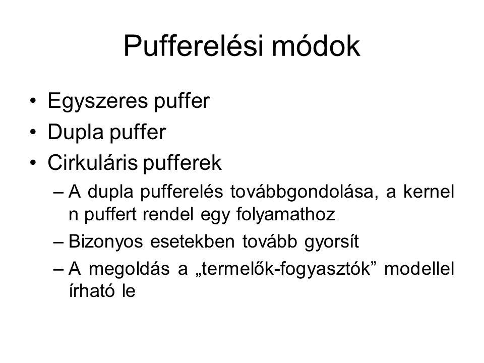 """Pufferelési módok Egyszeres puffer Dupla puffer Cirkuláris pufferek –A dupla pufferelés továbbgondolása, a kernel n puffert rendel egy folyamathoz –Bizonyos esetekben tovább gyorsít –A megoldás a """"termelők-fogyasztók modellel írható le"""