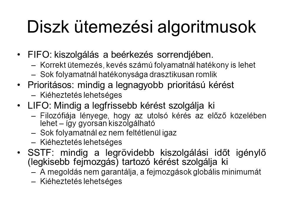 Diszk ütemezési algoritmusok FIFO: kiszolgálás a beérkezés sorrendjében.
