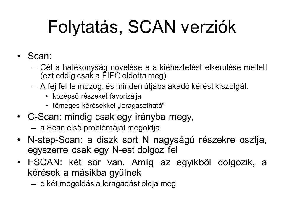 Folytatás, SCAN verziók Scan: –Cél a hatékonyság növelése a a kiéheztetést elkerülése mellett (ezt eddig csak a FIFO oldotta meg) –A fej fel-le mozog, és minden útjába akadó kérést kiszolgál.