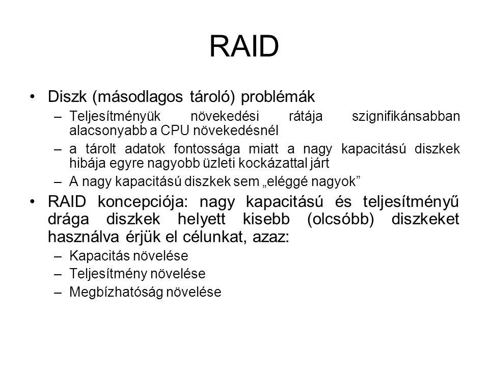 """RAID Diszk (másodlagos tároló) problémák –Teljesítményük növekedési rátája szignifikánsabban alacsonyabb a CPU növekedésnél –a tárolt adatok fontossága miatt a nagy kapacitású diszkek hibája egyre nagyobb üzleti kockázattal járt –A nagy kapacitású diszkek sem """"eléggé nagyok RAID koncepciója: nagy kapacitású és teljesítményű drága diszkek helyett kisebb (olcsóbb) diszkeket használva érjük el célunkat, azaz: –Kapacitás növelése –Teljesítmény növelése –Megbízhatóság növelése"""