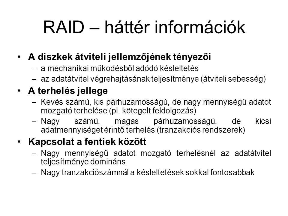 RAID – háttér információk A diszkek átviteli jellemzőjének tényezői –a mechanikai működésből adódó késleltetés –az adatátvitel végrehajtásának teljesítménye (átviteli sebesség) A terhelés jellege –Kevés számú, kis párhuzamosságú, de nagy mennyiségű adatot mozgató terhelése (pl.