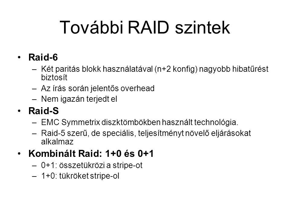 További RAID szintek Raid-6 –Két paritás blokk használatával (n+2 konfig) nagyobb hibatűrést biztosít –Az írás során jelentős overhead –Nem igazán terjedt el Raid-S –EMC Symmetrix diszktömbökben használt technológia.