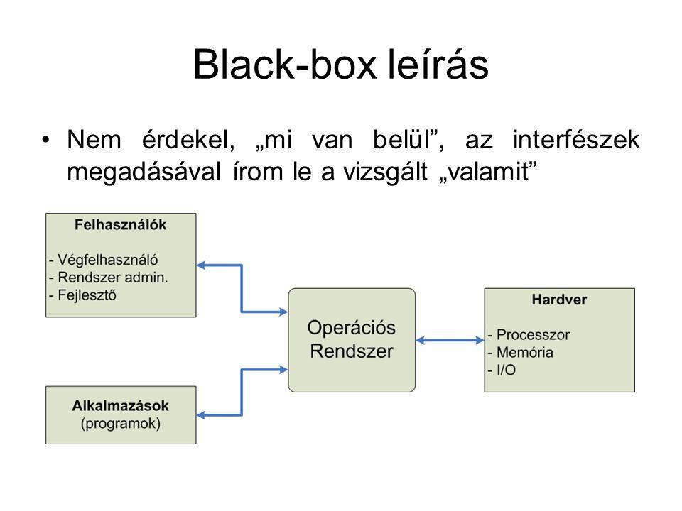 """Black-box leírás Nem érdekel, """"mi van belül , az interfészek megadásával írom le a vizsgált """"valamit"""