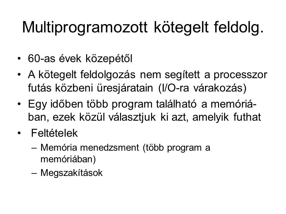 Multiprogramozott kötegelt feldolg.