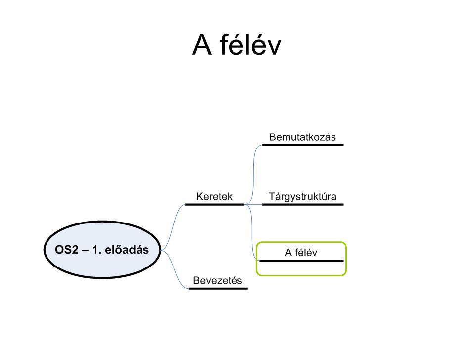Felhasználói csoportok Végfelhasználók –Napi tevékenységükhöz szükséges alkalmazásokat használnak, operációs rendszerrel minimális a közvetlen kapcsolatuk Fejlesztők (alacsony szintű megoldások) –Operációs rendszer által biztosított virtuális gépen fejlesztenek –Operációs rendszeri eszközöket (is) használnak (utility-k) Rendszer adminisztrátorok –Oprendszer működését felügyelik, hangolják –Folyamatos állapot információkkal kell rendelkezniük –A működésbe is beavatkoz(hat)nak