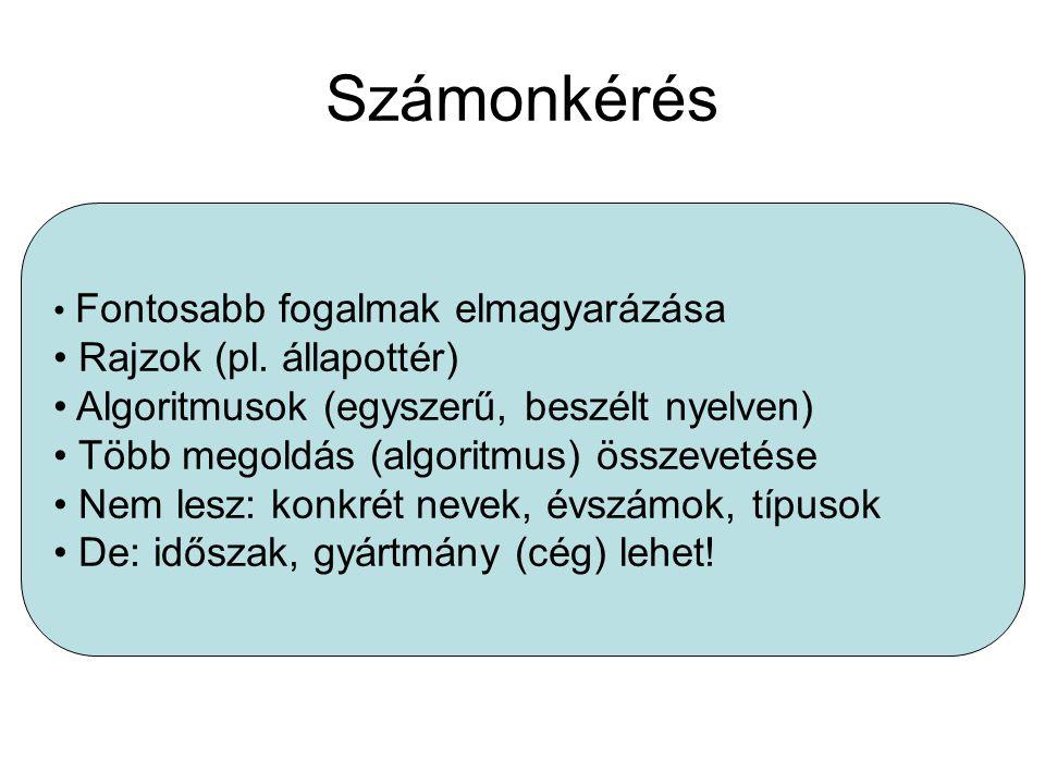 Számonkérés Fontosabb fogalmak elmagyarázása Rajzok (pl.