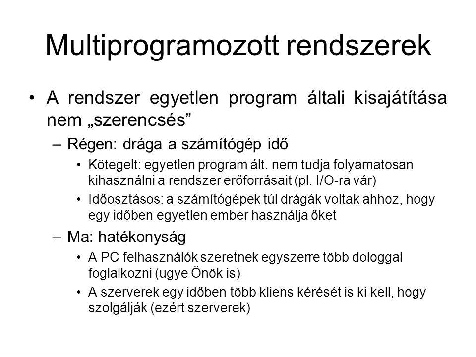 """Multiprogramozott rendszerek A rendszer egyetlen program általi kisajátítása nem """"szerencsés –Régen: drága a számítógép idő Kötegelt: egyetlen program ált."""