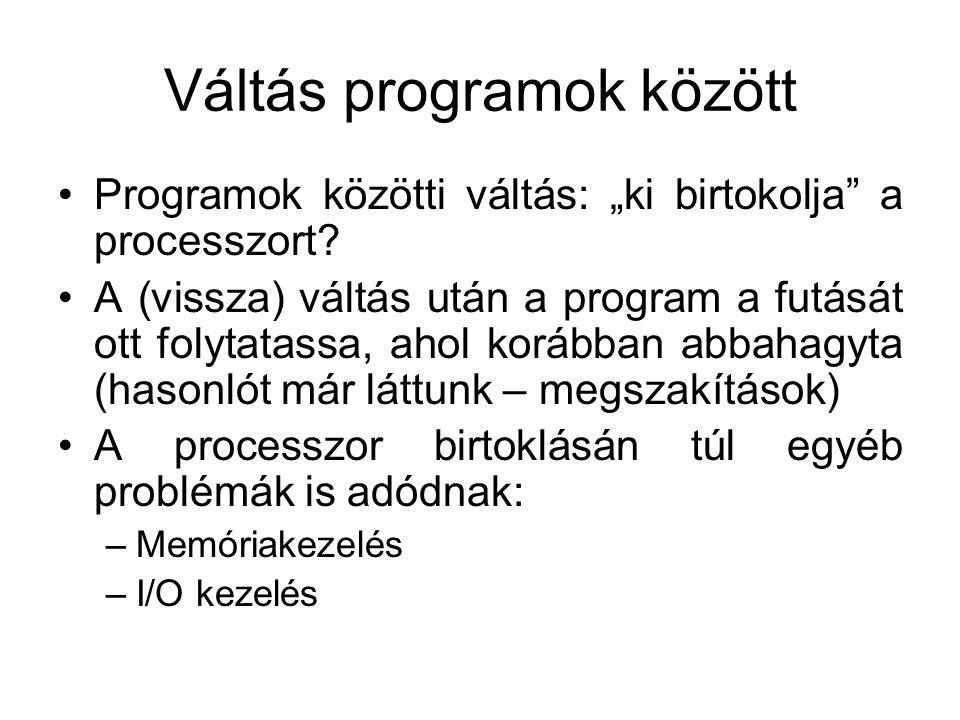 """Váltás programok között Programok közötti váltás: """"ki birtokolja a processzort."""