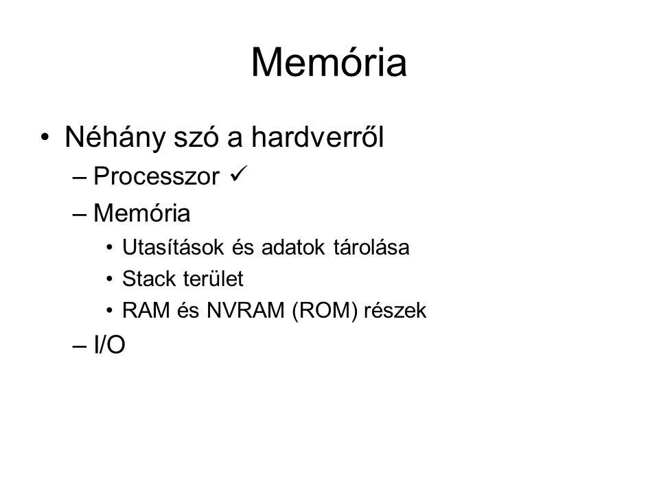 I/O Néhány szó a hardverről –Processzor –Memória –I/O Másodlagos tároló Humán interfész Gép-gép kapcsolat Szélsőséges sávszélesség igények