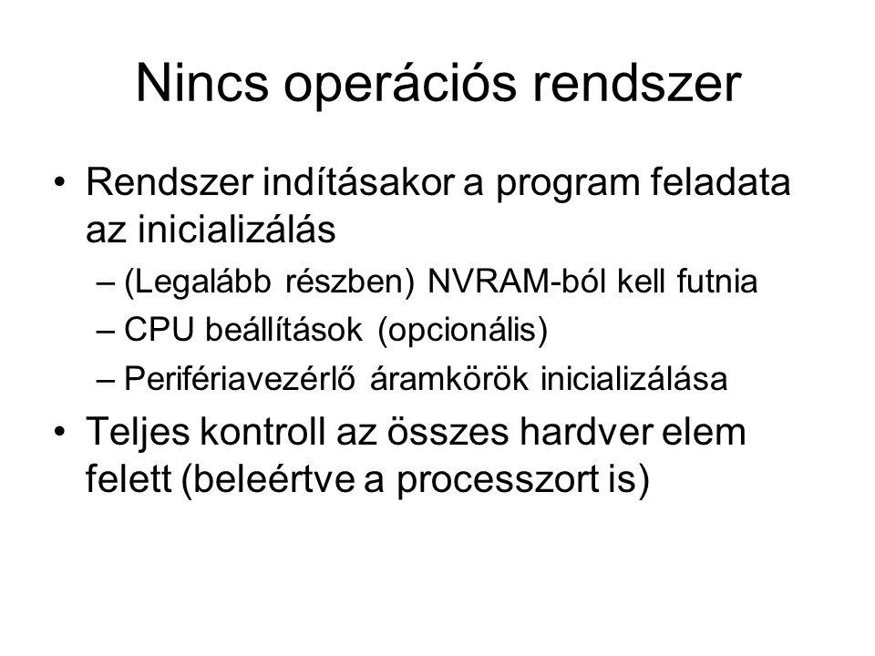 Nincs operációs rendszer Rendszer indításakor a program feladata az inicializálás –(Legalább részben) NVRAM-ból kell futnia –CPU beállítások (opcionális) –Perifériavezérlő áramkörök inicializálása Teljes kontroll az összes hardver elem felett (beleértve a processzort is)