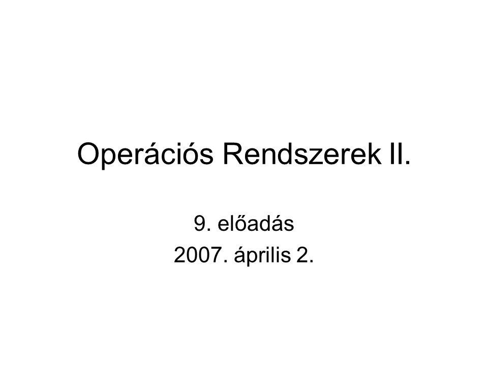 Operációs Rendszerek II. 9. előadás 2007. április 2.