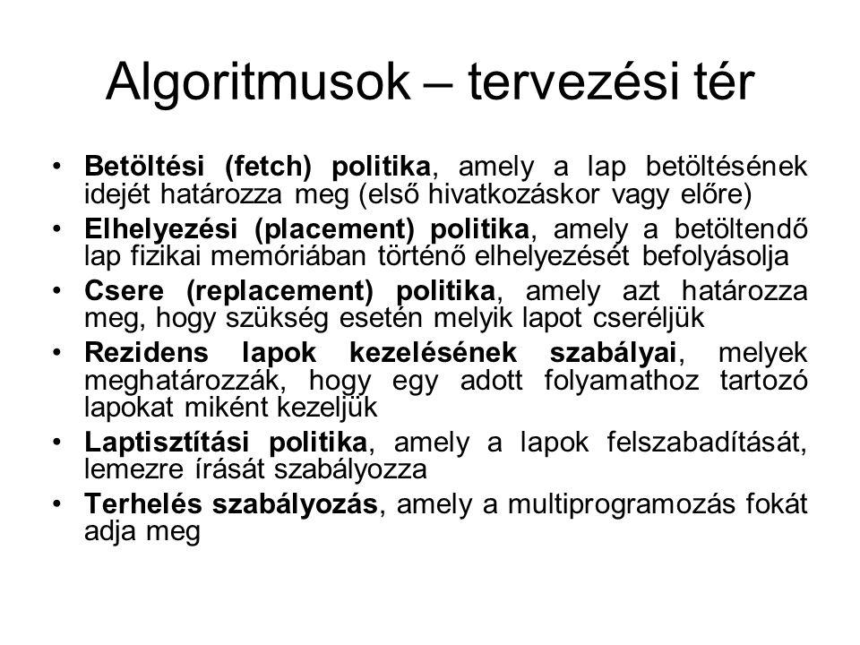 Algoritmusok – tervezési tér Betöltési (fetch) politika, amely a lap betöltésének idejét határozza meg (első hivatkozáskor vagy előre) Elhelyezési (pl
