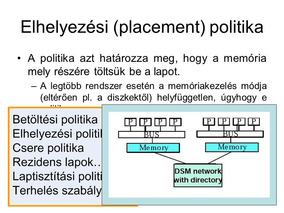 Elhelyezési (placement) politika A politika azt határozza meg, hogy a memória mely részére töltsük be a lapot. –A legtöbb rendszer esetén a memóriakez