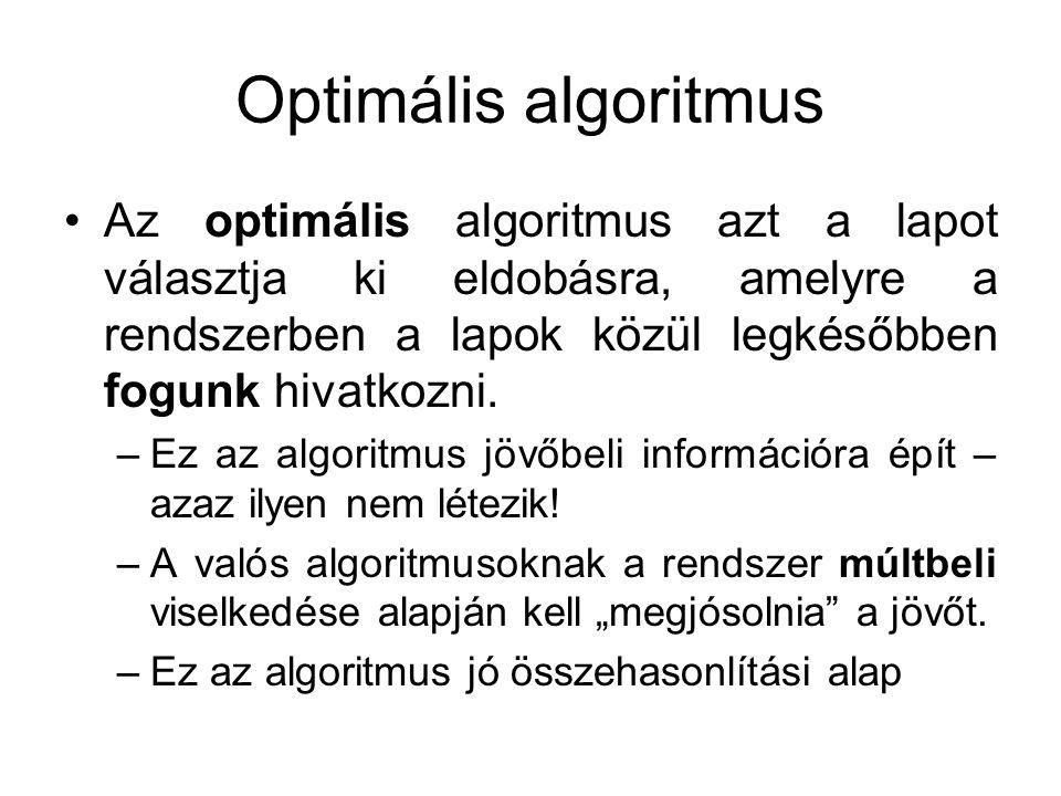 Optimális algoritmus Az optimális algoritmus azt a lapot választja ki eldobásra, amelyre a rendszerben a lapok közül legkésőbben fogunk hivatkozni. –E