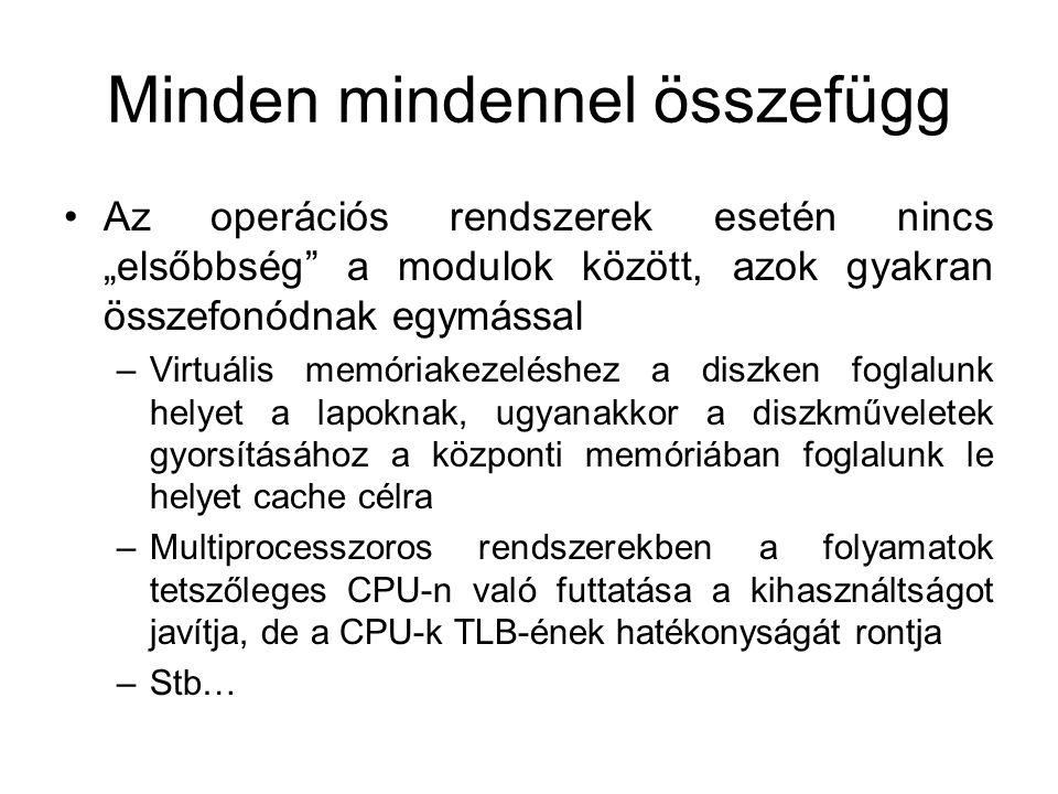 """Minden mindennel összefügg Az operációs rendszerek esetén nincs """"elsőbbség"""" a modulok között, azok gyakran összefonódnak egymással –Virtuális memóriak"""