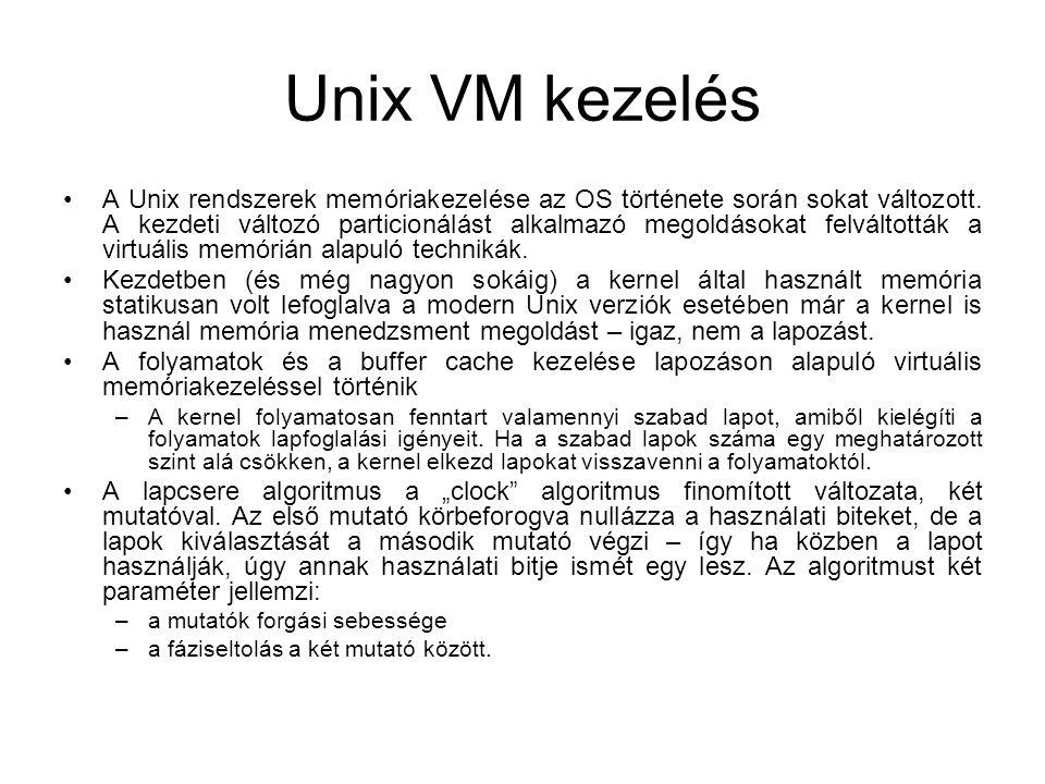 Unix VM kezelés A Unix rendszerek memóriakezelése az OS története során sokat változott. A kezdeti változó particionálást alkalmazó megoldásokat felvá