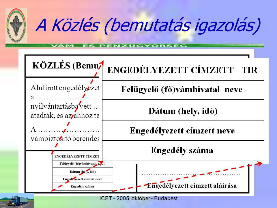 ICET - 2005. október - Budapest A Közlés (bemutatás igazolás) KÖZLÉS (Bemutatás igazolás) Alulírott engedélyezett címzett ezúton igazolom, hogy a...….