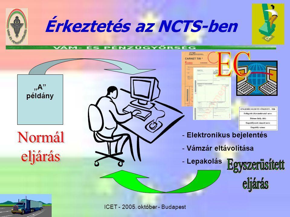 """ICET - 2005. október - Budapest Érkeztetés az NCTS-ben """"A"""" példány - Elektronikus bejelentés - Vámzár eltávolítása - Lepakolás"""