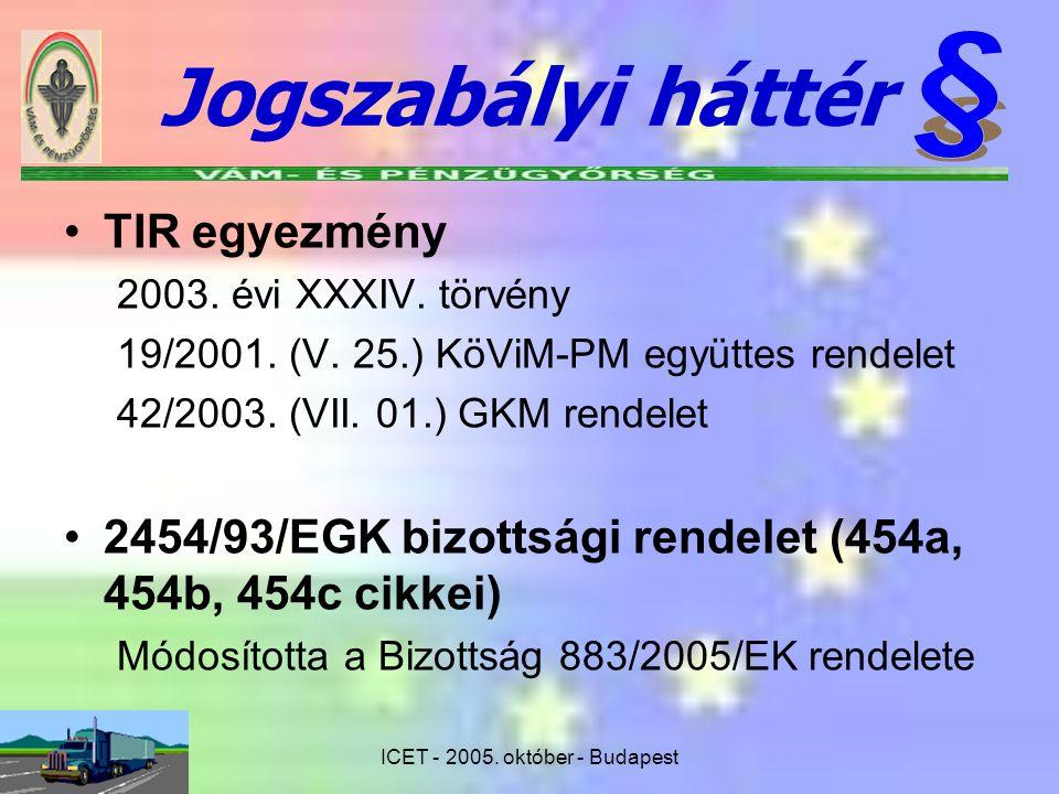 Jogszabályi háttér TIR egyezmény 2003. évi XXXIV. törvény 19/2001. (V. 25.) KöViM-PM együttes rendelet 42/2003. (VII. 01.) GKM rendelet 2454/93/EGK bi