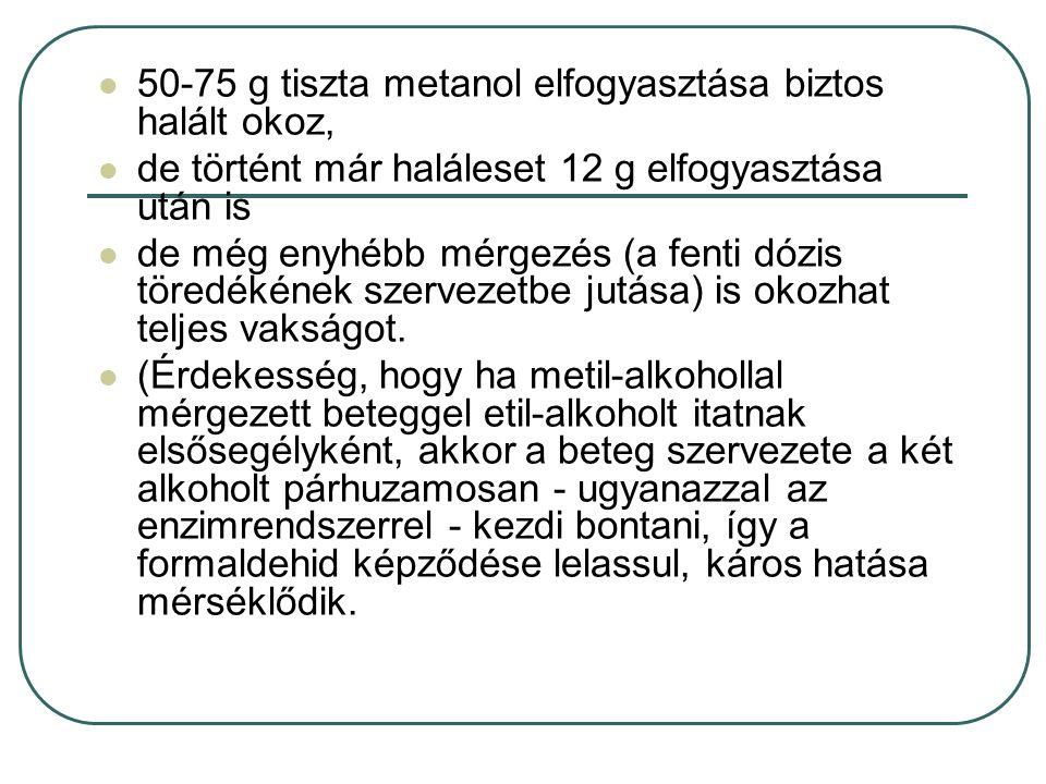 50-75 g tiszta metanol elfogyasztása biztos halált okoz, de történt már haláleset 12 g elfogyasztása után is de még enyhébb mérgezés (a fenti dózis tö