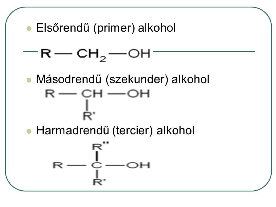 Elsőrendű (primer) alkohol Másodrendű (szekunder) alkohol Harmadrendű (tercier) alkohol