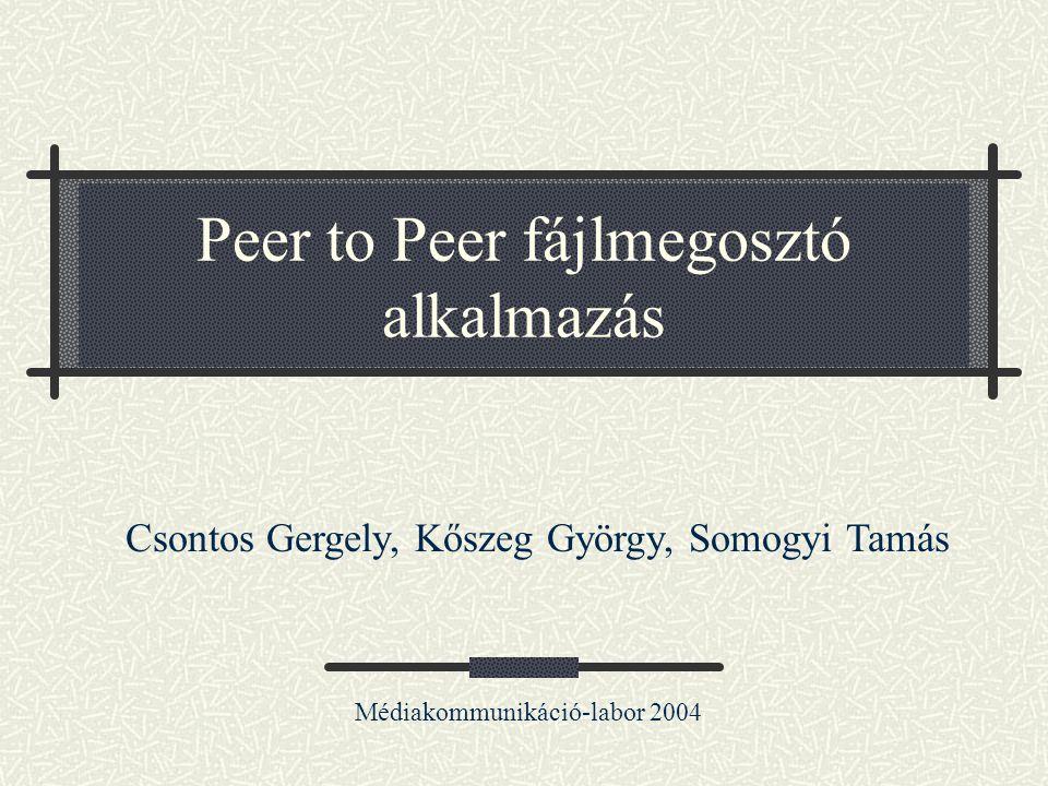Peer to Peer fájlmegosztó alkalmazás Médiakommunikáció-labor 2004 Csontos Gergely, Kőszeg György, Somogyi Tamás