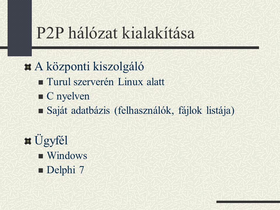 P2P hálózat kialakítása A központi kiszolgáló Turul szerverén Linux alatt C nyelven Saját adatbázis (felhasználók, fájlok listája) Ügyfél Windows Delphi 7