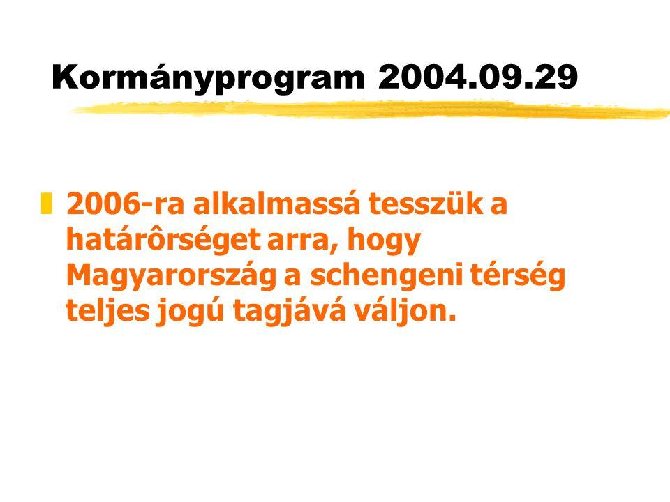 Kormányprogram 2004.09.29 z2006-ra alkalmassá tesszük a határôrséget arra, hogy Magyarország a schengeni térség teljes jogú tagjává váljon.