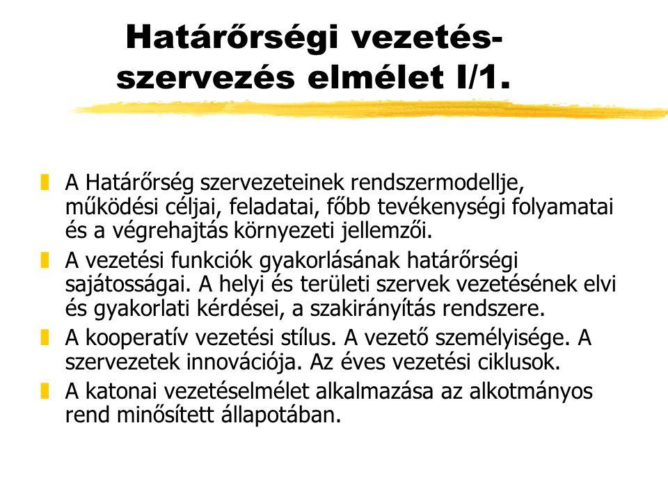 Határőrségi vezetés- szervezés elmélet I/1.