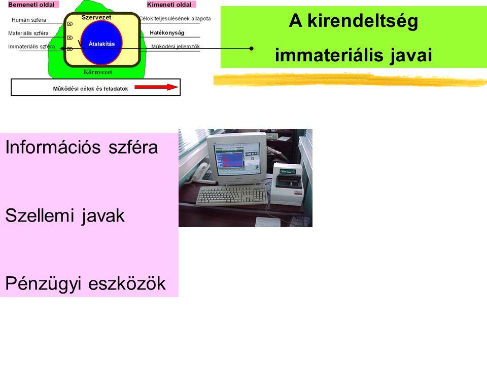 A kirendeltség immateriális javai Információs szféra Szellemi javak Pénzügyi eszközök