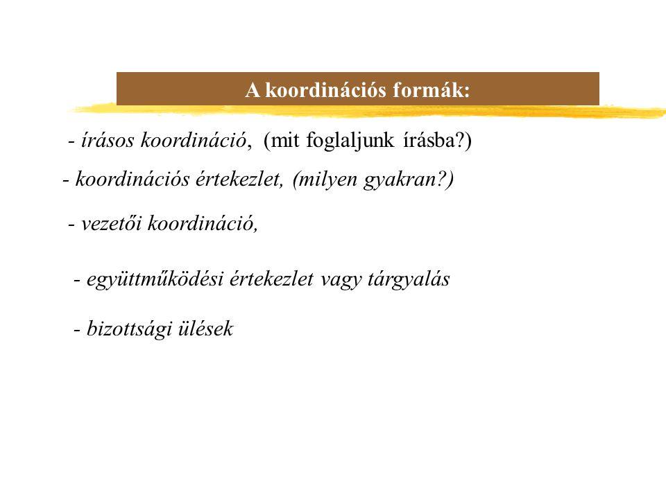 A koordinációs formák: - írásos koordináció, (mit foglaljunk írásba?) - koordinációs értekezlet, (milyen gyakran?) - vezetői koordináció, - együttműködési értekezlet vagy tárgyalás - bizottsági ülések