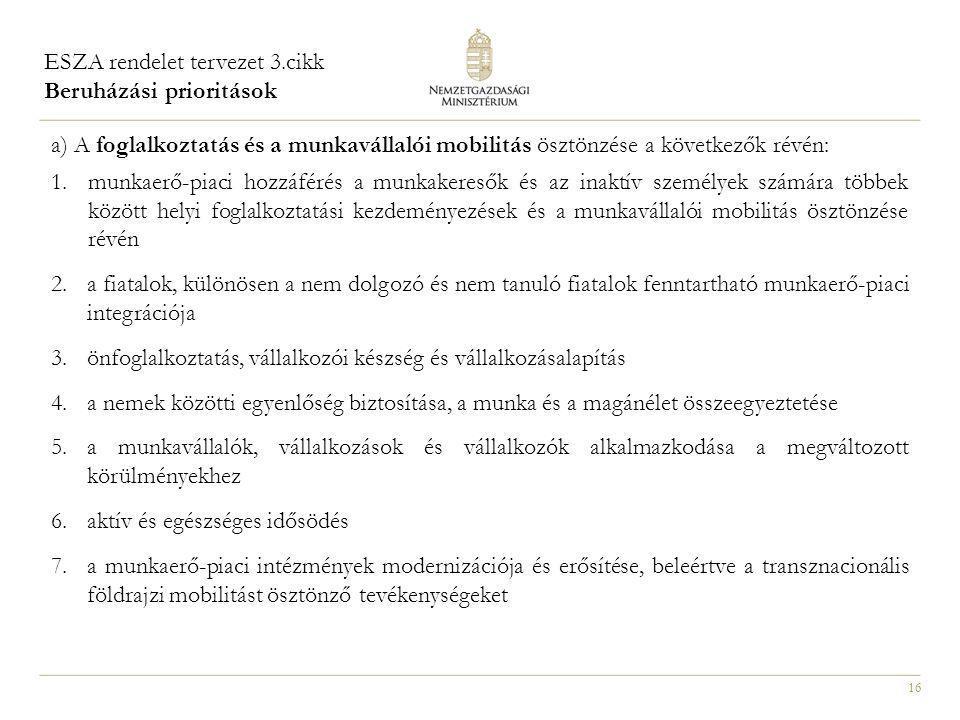 16 a) A foglalkoztatás és a munkavállalói mobilitás ösztönzése a következők révén: 1.munkaerő-piaci hozzáférés a munkakeresők és az inaktív személyek