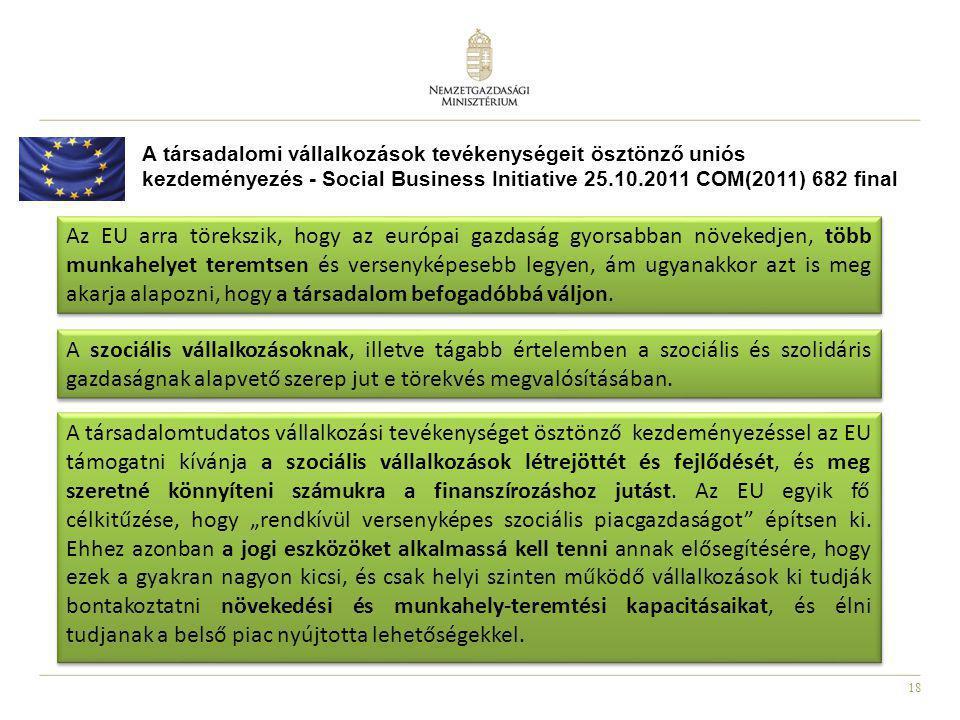 18 A társadalomi vállalkozások tevékenységeit ösztönző uniós kezdeményezés - Social Business Initiative 25.10.2011 COM(2011) 682 final Az EU arra töre
