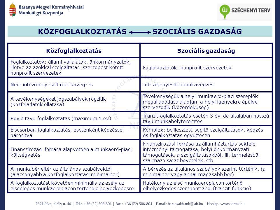 KÖZFOGLALKOZTATÁS SZOCIÁLIS GAZDASÁG KözfoglalkoztatásSzociális gazdaság Foglalkoztatók: állami vállalatok, önkormányzatok, illetve az azokkal szolgál