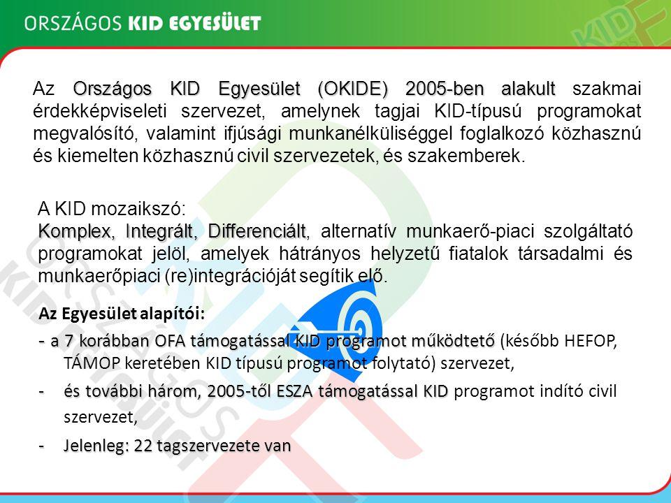 Országos KID Egyesület (OKIDE) 2005-ben alakult Az Országos KID Egyesület (OKIDE) 2005-ben alakult szakmai érdekképviseleti szervezet, amelynek tagjai KID-típusú programokat megvalósító, valamint ifjúsági munkanélküliséggel foglalkozó közhasznú és kiemelten közhasznú civil szervezetek, és szakemberek.