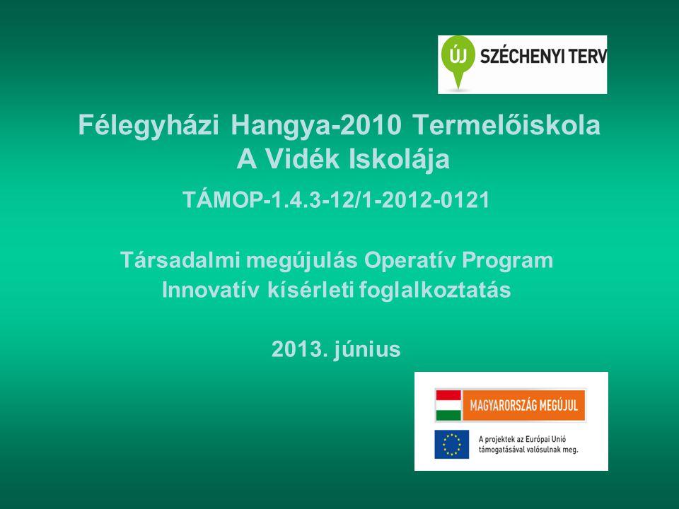 Félegyházi Hangya-2010 Termelőiskola A Vidék Iskolája TÁMOP-1.4.3-12/1-2012-0121 Társadalmi megújulás Operatív Program Innovatív kísérleti foglalkozta