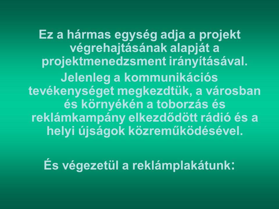 Ez a hármas egység adja a projekt végrehajtásának alapját a projektmenedzsment irányításával. Jelenleg a kommunikációs tevékenységet megkezdtük, a vár