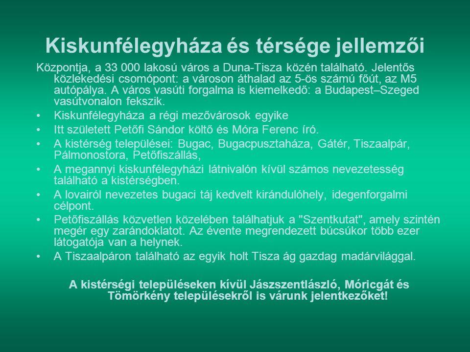 Kiskunfélegyháza és térsége jellemzői Központja, a 33 000 lakosú város a Duna-Tisza közén található. Jelentős közlekedési csomópont: a városon áthalad