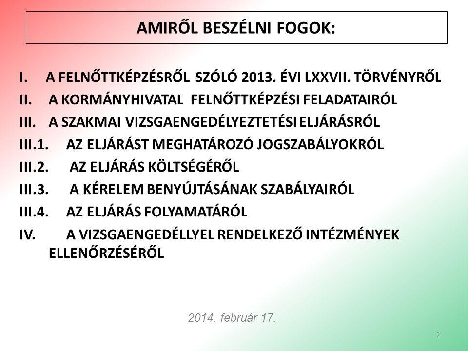 I.A FELNŐTTKÉPZÉSRŐL SZÓLÓ 2013. ÉVI LXXVII.