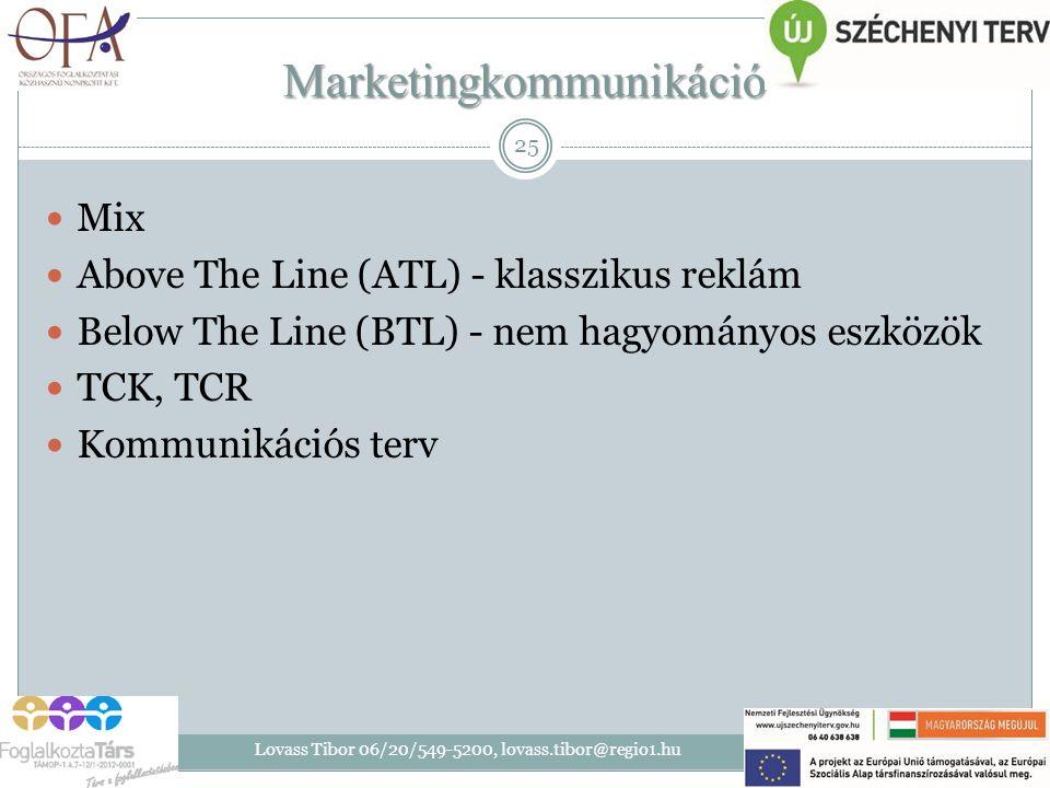 Marketingkommunikáció Mix Above The Line (ATL) - klasszikus reklám Below The Line (BTL) - nem hagyományos eszközök TCK, TCR Kommunikációs terv 2014. 0