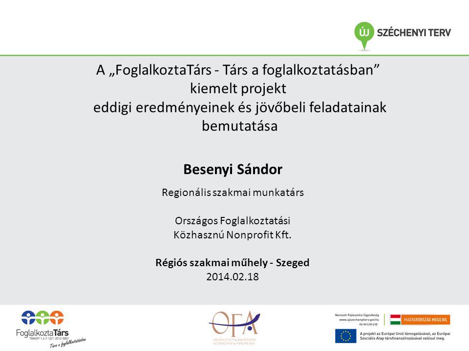 Besenyi Sándor Regionális szakmai munkatárs Országos Foglalkoztatási Közhasznú Nonprofit Kft.