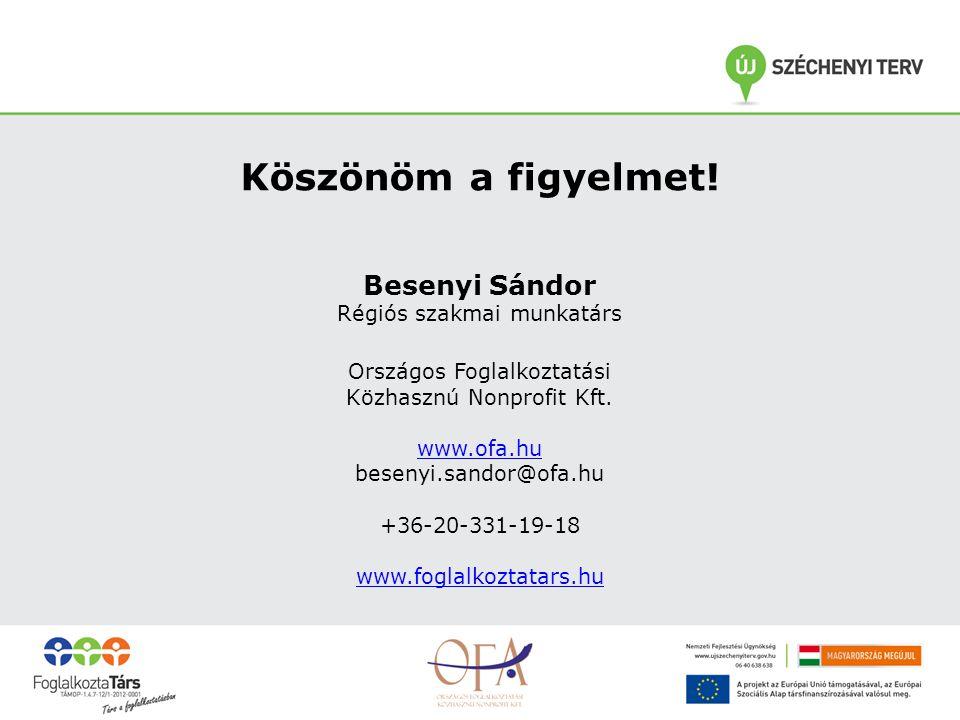 Köszönöm a figyelmet! Besenyi Sándor Régiós szakmai munkatárs Országos Foglalkoztatási Közhasznú Nonprofit Kft. www.ofa.hu besenyi.sandor@ofa.hu +36-2
