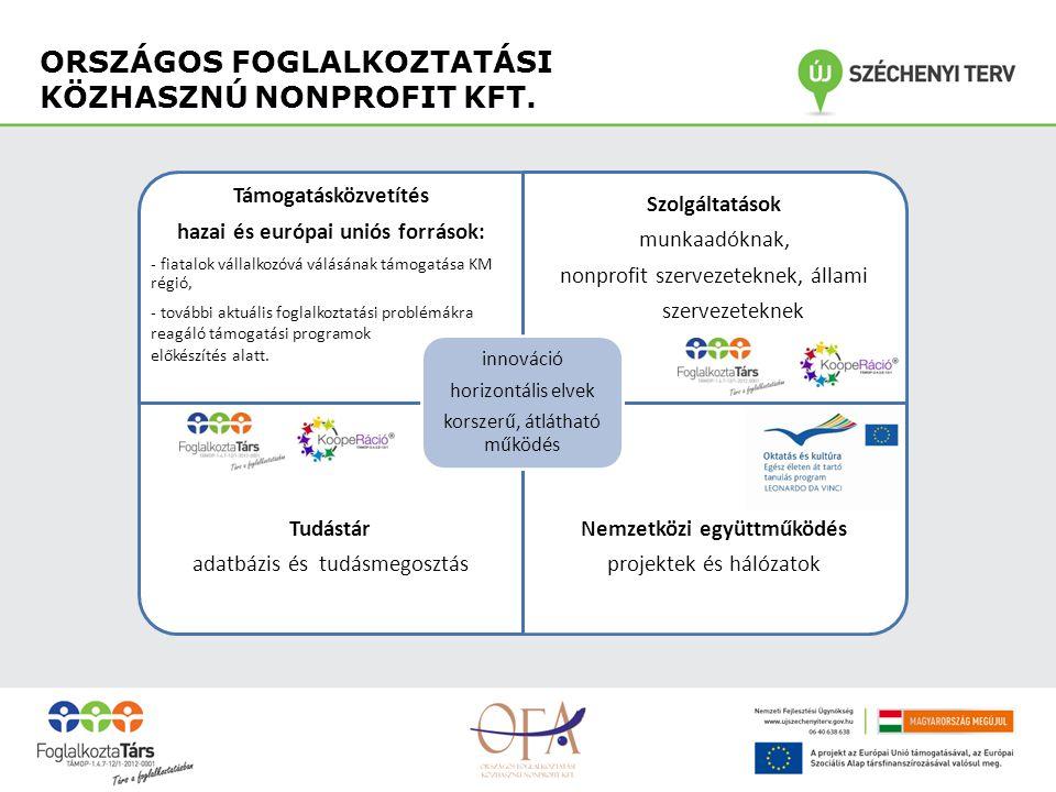 Támogatásközvetítés hazai és európai uniós források: - fiatalok vállalkozóvá válásának támogatása KM régió, - további aktuális foglalkoztatási problémákra reagáló támogatási programok előkészítés alatt.
